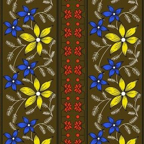 Floral pattern_double border_chocolate Brown 2c-ed