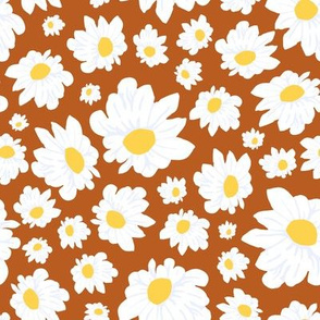 Field of Daisies in Earth Brown