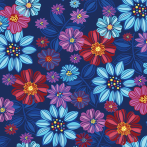 Jewel tone flowers meadow