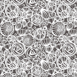 Grey and white tonal floral