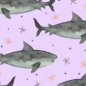 Watercolour Sharks Pink Ground (Jumbo Scale)
