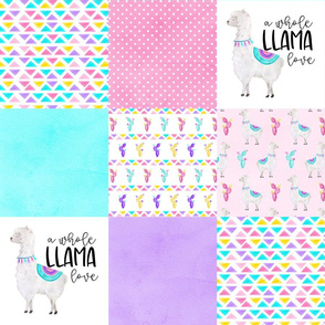 A Whole Llama Love//Bright - Wholecloth Cheater Quilt
