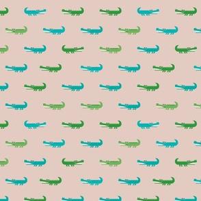 Cute crocodile jungle animal alligator kids animals illustration pattern design in green and blue SMALL