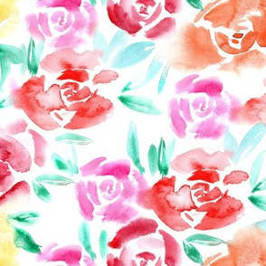 Roses garden • watercolor florals for home decor