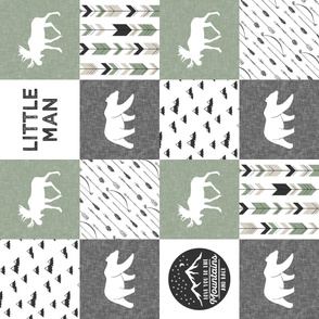 Little Man - love you to the mountains and back - sage and grey - moose, bear  patchwork (90) C19BS