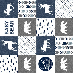 Baby bear - love you to the mountains and back - navy and grey - moose, bear, deer patchwork (90) C19BS