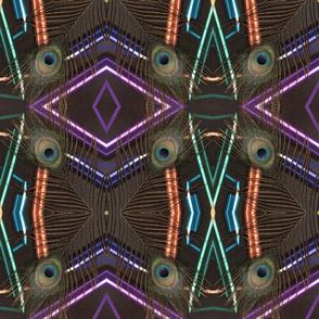 peacock tail feather multicolor geometric sticks kaleidoscope large
