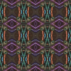 peacock tail feather multicolor geometric sticks kaleidoscope medium