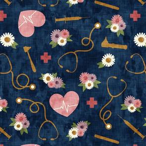(jumbo scale) floral nurse melody - nursing - syringe, ekg, stethoscope -  blue - LAD19BS