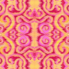 pink and golden ikat