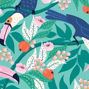 Whimsical toucan forest/large scale