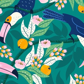 Whimsical toucan forest-dark/large scale