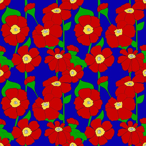 Red Poppy Flowers - 70's  Jewel Tones