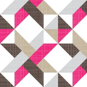 Quilt Panel Pink Brown Basket Linen Woven Star