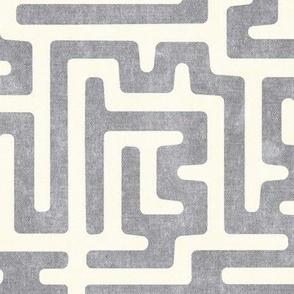 maze - mud cloth - tribal in grey -  LAD19