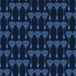 Indigo blue flower motif Japanese style. pattern.