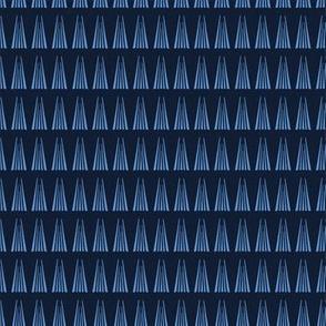 Modern indigo blue geometric hand drawn triangle pattern.