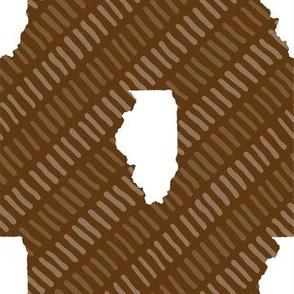 Illinois State Shape Stripes Brown-01-01