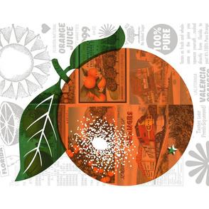 Fresh Squeezed Tea Towel* || citrus orange typography sun juice vintage postcards ephemera collage vitamin c cut and sew kitchen diy consumerism