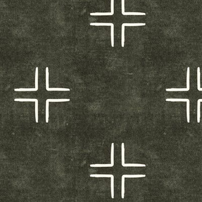 mudcloth cross on dark olive - home decor - LAD19