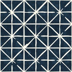 geometric triangles on dark blue - modern distressed geometric - LAD19