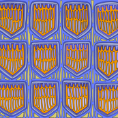 Kuna Tribal Shields - Large Scale - Blue Orange