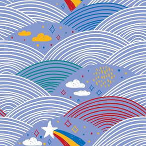 magic tale  pattern abstract scales, rain, sky clouds stars, simple scandinavian style. Nursery decor trend of the season