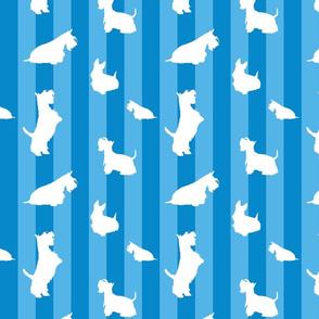 White Scottie and Stripes