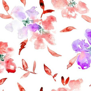 So wild roses • coral and purple • watercolor florals