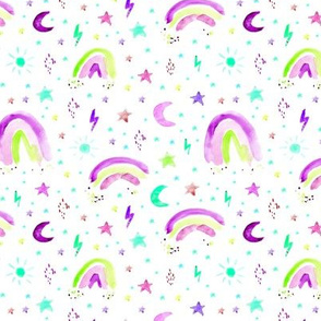 Watercolor rainbows, stars, suns in purple and greens •  painted fun pattern for nursery