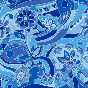 Retro pattern in classic blue