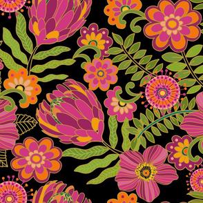 1970 Floral black