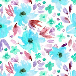 Sweet spring in aqua • watercolor flowers