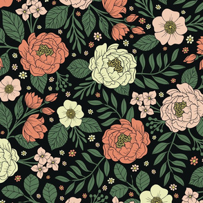 Peach, Green & Coral Floral Pattern