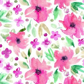 Sweet spring in pink • watercolor flowers