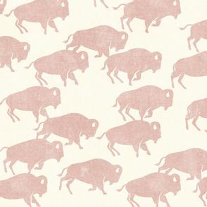 bison stampede - boho southwest - trendy buffalo - rose - LAD19