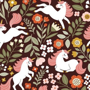 floral unicorn - maroon, small