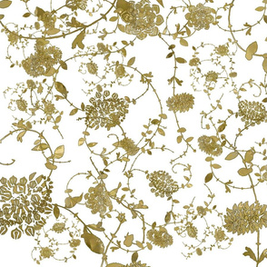 Gold Flowers on White