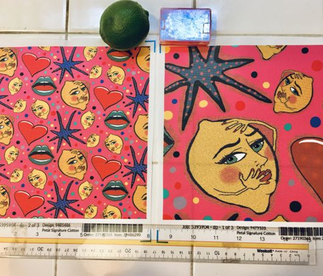 pop art angsty lemons, large scale, red pink blue green yellow lavender black