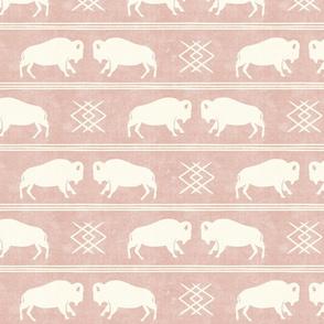 bison stripes - aztec southwest - boho buffalo - rose - LAD19