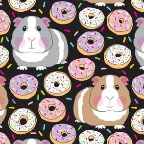 guinea pigs and white purple pink sprinkle donuts on black
