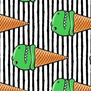 """(5"""" scale) trex icecream cones - dinosaur icecream - black stripes C19BS"""