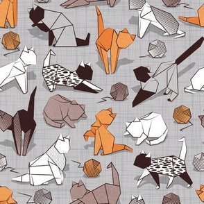 Small scale // Origami kitten friends playing // grey linen texture background orange white and brown taupe paper cats playing with wool balls