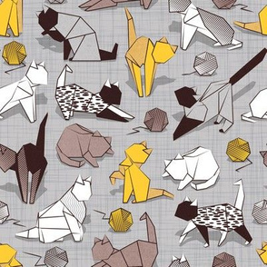 Small scale // Origami kitten friends playing // grey linen texture background yellow white and brown taupe paper cats playing with wool balls