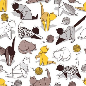 Small scale // Origami kitten friends playing // white background yellow white and brown taupe paper cats playing with wool balls