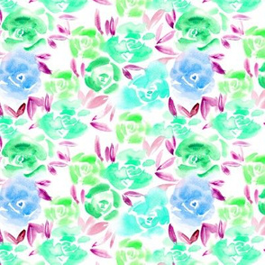 Rose garden in emerald, aqua, blue • watercolor flowers