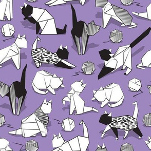 Small scale // Origami kitten friends playing // violet purple background black and white coloring paper cats playing with wool balls