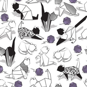 Small scale // Origami kitten friends playing // white background black and white coloring paper cats playing with violet purple wool balls