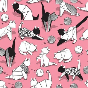 Small scale // Origami kitten friends playing // pink background black and white coloring paper cats playing with wool balls
