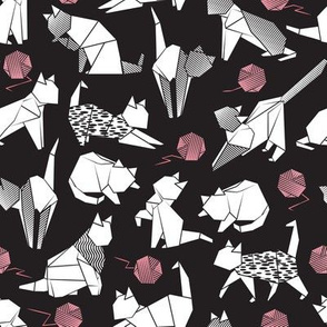 Small scale // Origami kitten friends playing // black background white paper cats playing with pink wool balls